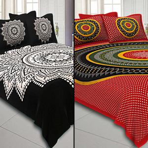 Trendy Printed Cotton Double Bedsheet With Cushion Cover - Pack Of 2