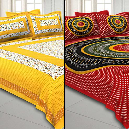 Elegant Printed Cotton Double Bedsheet With Cushion Cover - Pack Of 2
