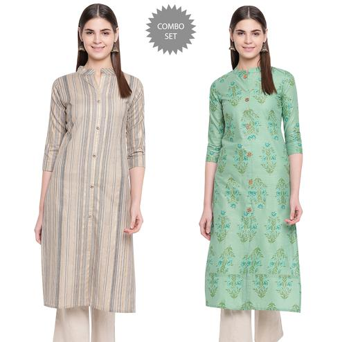 Radiant Casual Wear Printed Cotton Kurti - Pack Of 2