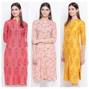 Opulent Casual Wear Printed Cotton Kurti - Pack Of 3