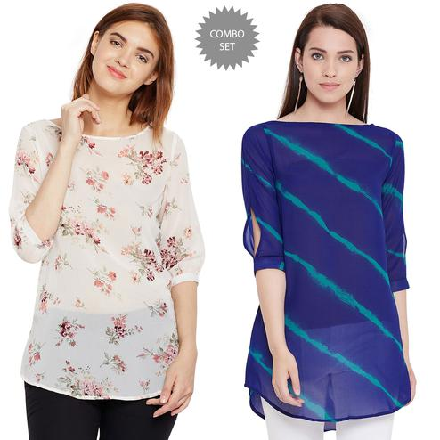 Refreshing Casual Wear Printed Georgette Top-Tunic - Pack Of 2