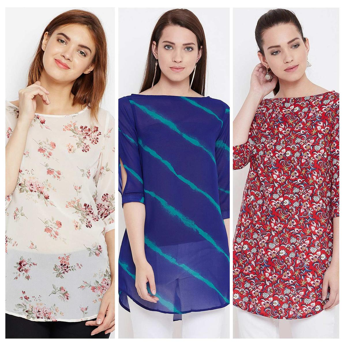 Arresting Casual Wear Printed Georgette-Rayon Top-Tunic-Pack of 3