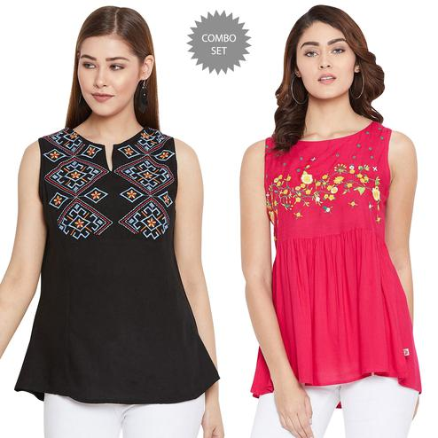 Exotic Casual Wear Embroidered Rayon Top-Pack of 2