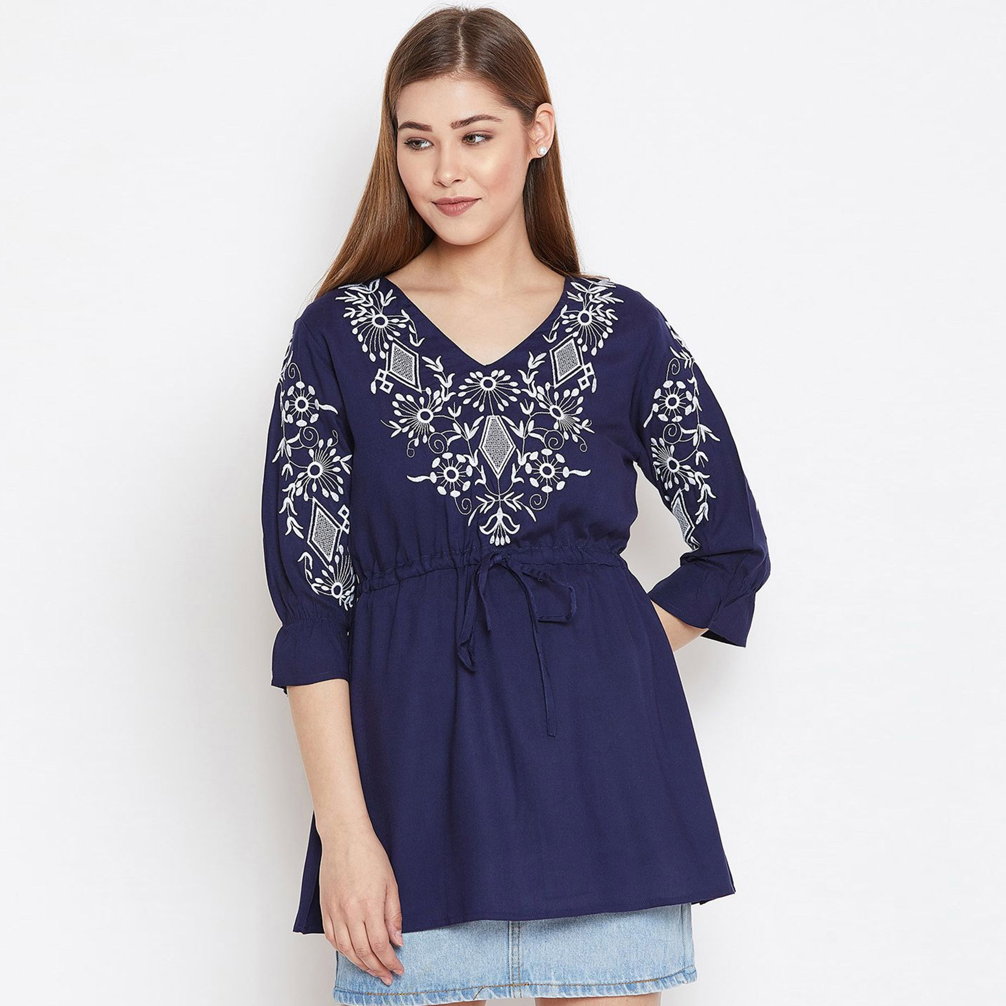 Trendy Casual Wear Embroidered Rayon Top-Tunic-Pack of 3
