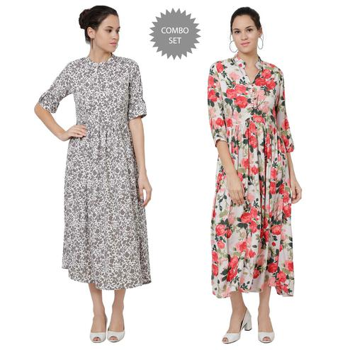 Elegant Casual Wear Printed Crepe-Rayon Maxi Dress-Pack of 2