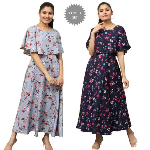 Radiant Party Wear Printed Crepe Maxi Dress-Pack of 2