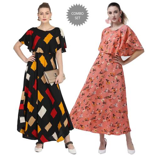 Arresting CasuaPleasant Party Wear Printed Crepe Maxi Dress-Pacl Wear Printed Georgette-Rayon Top-Tunic-Pack of 3-copy-6