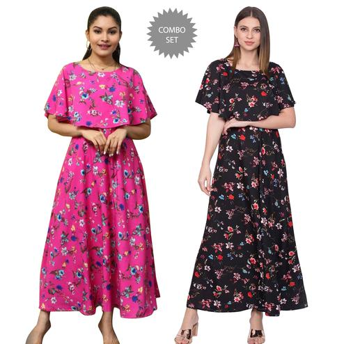 Opulent Party Wear Printed Crepe Maxi Dress-Pack of 2