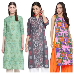 Energetic Casual Wear Printed Cotton Kurti-Pack of 3