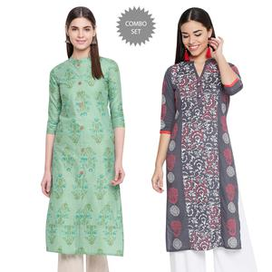 Glowing Casual Wear Printed Cotton Kurti-Pack of 2