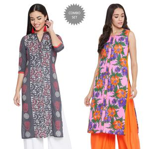 Exceptional Casual Wear Printed Cotton Kurti-Pack of 2