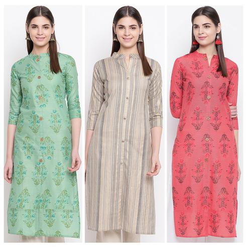 Gleaming Casual Wear Printed Cotton Kurti-Pack of 3