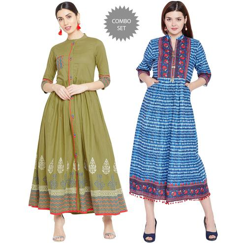 Mesmeric Printed Cotton Long Kurti-Pack of 2