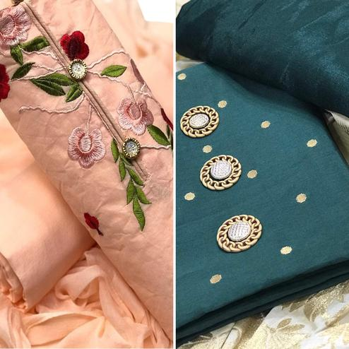 Prominent Party Wear Cotton-Satin Dress Material - Pack of 2