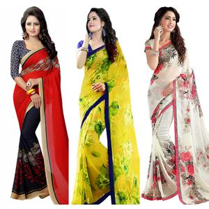 Appealing Casual Wear Printed Georgette Saree - Pack of 3