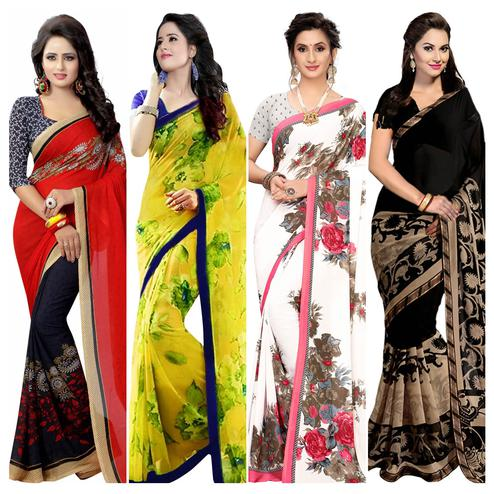 Capricious Casual Wear Printed Georgette Saree - Pack of 4
