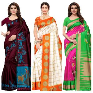 Flattering Casual-Festive Wear Printed Art Silk-Mysore Silk Saree - Pack of 3