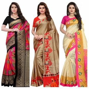 Preferable Casual-Festive Wear Printed Saree - Pack of 3