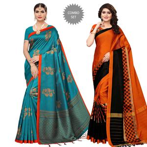 Marvellous Festive Wear Printed Art Silk-Tussar Silk Saree - Pack of 2
