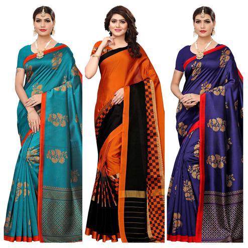 Flamboyant Festive Wear Printed Art Silk-Tussar Silk Saree - Pack of 3