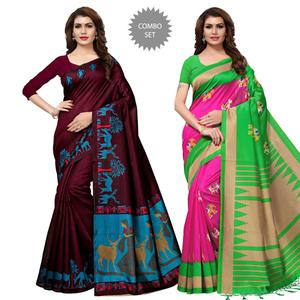 Pretty Casual-Festive Wear Printed Art Silk-Mysore Silk Saree - Pack of 2