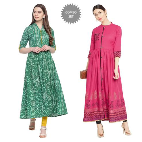 Intricate Printed Cotton Long Kurti - Pack of 2