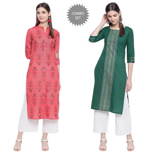Arresting Casual Wear Printed Cotton Kurti - Pack of 2