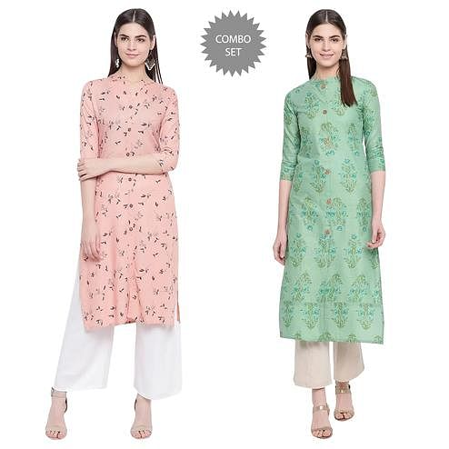 Desirable Casual Wear Printed Cotton Kurti - Pack of 2