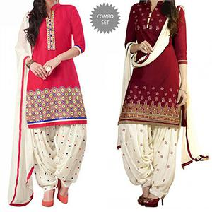 Red - Pink Printed Patiala Suit Combo