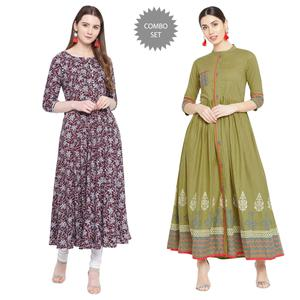 Sophisticated Printed Rayon-Cotton Long Kurti - Pack of 2