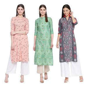 Trendy Casual Wear Printed Cotton Kurti - Pack of 3