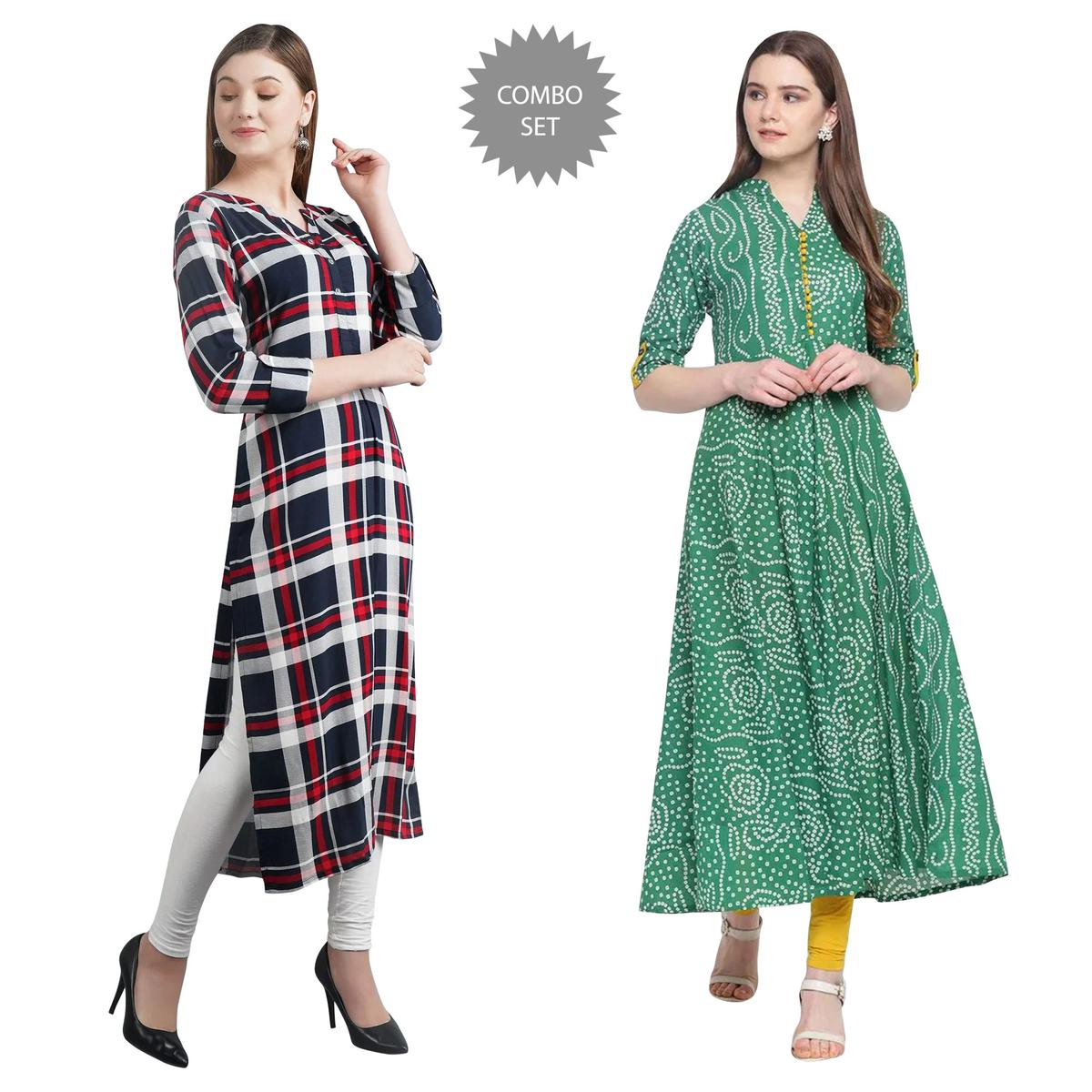 Opulent Casual Wear Printed Cotton Kurti - Pack of 2