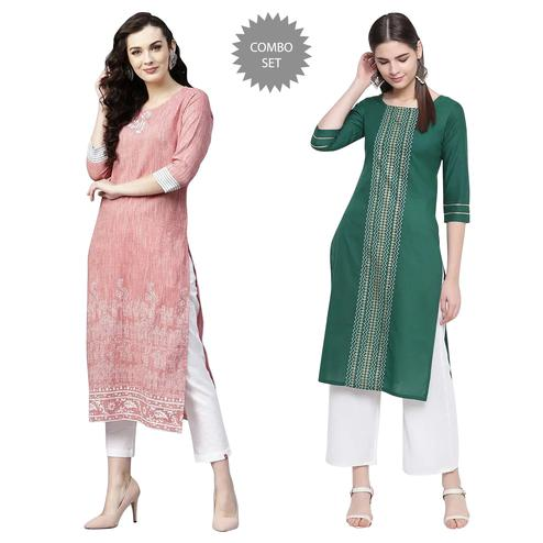 Energetic Casual Wear Printed Cotton Kurti - Pack of 2