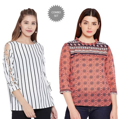 Adorable Casual Wear Printed Crepe-Georgette Top - Pack of 2