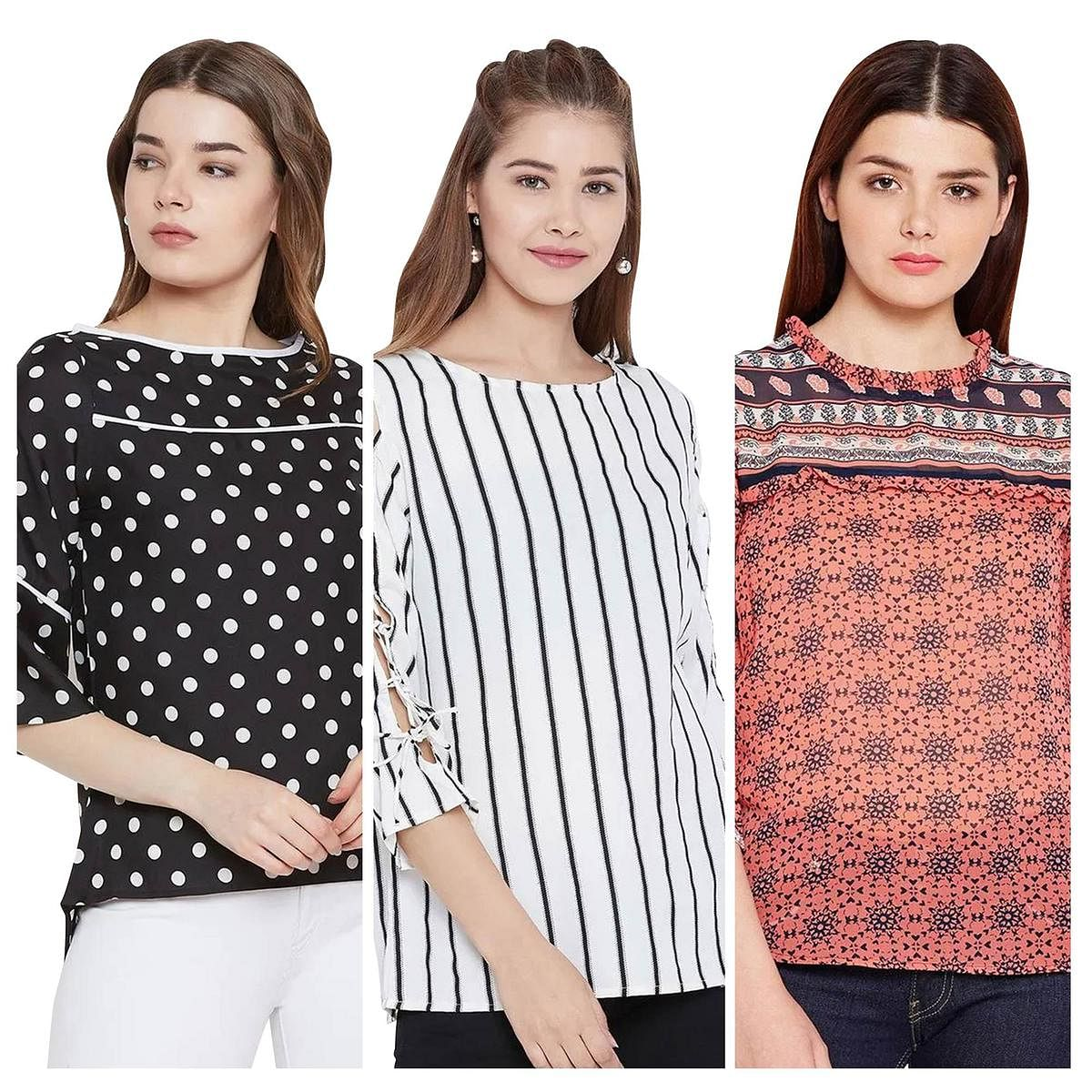 Glorious Casual Wear Printed Crepe-Georgette Top - Pack of 3