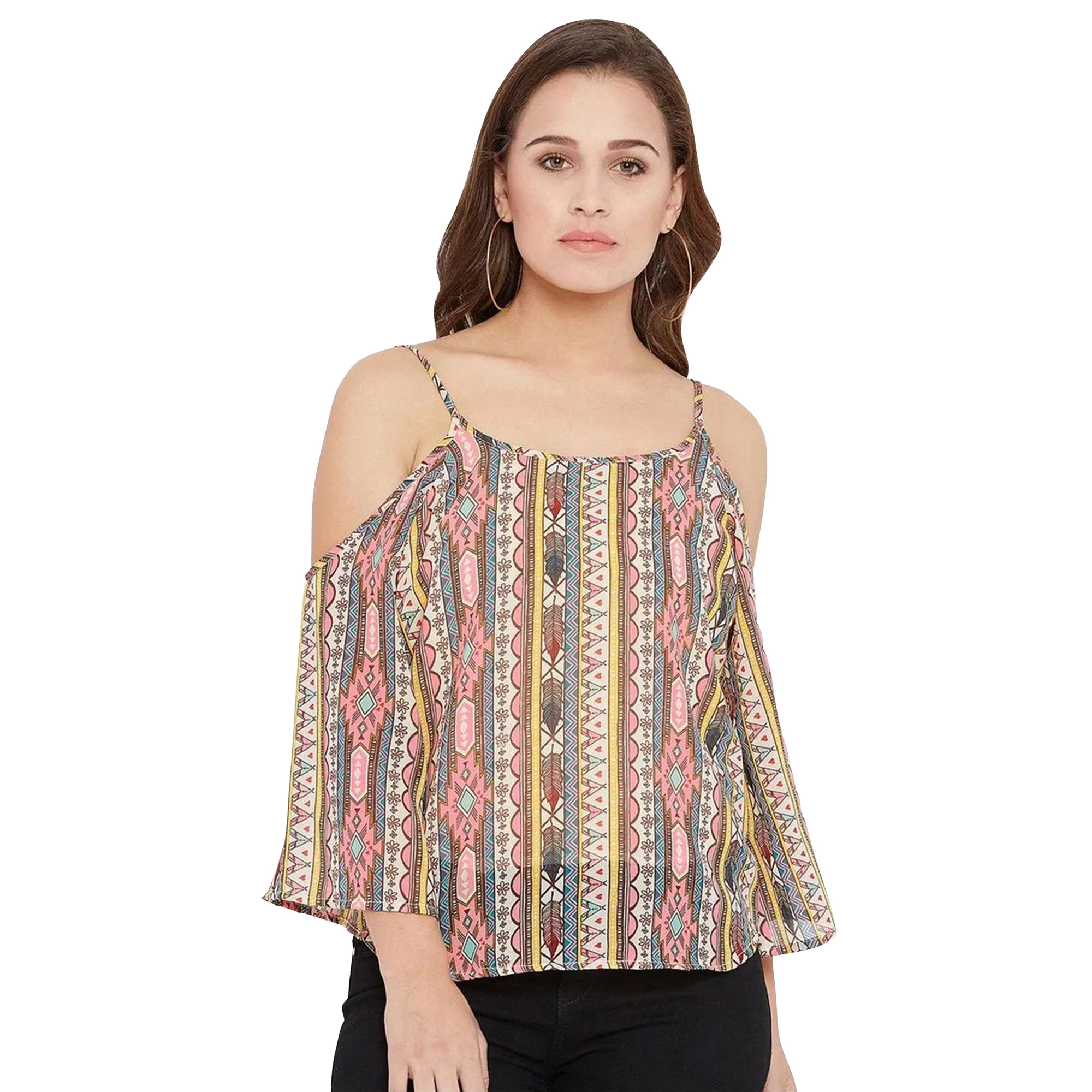 Attractive Casual Wear Printed Crepe-Georgette-Polyester Top - Pack of 3