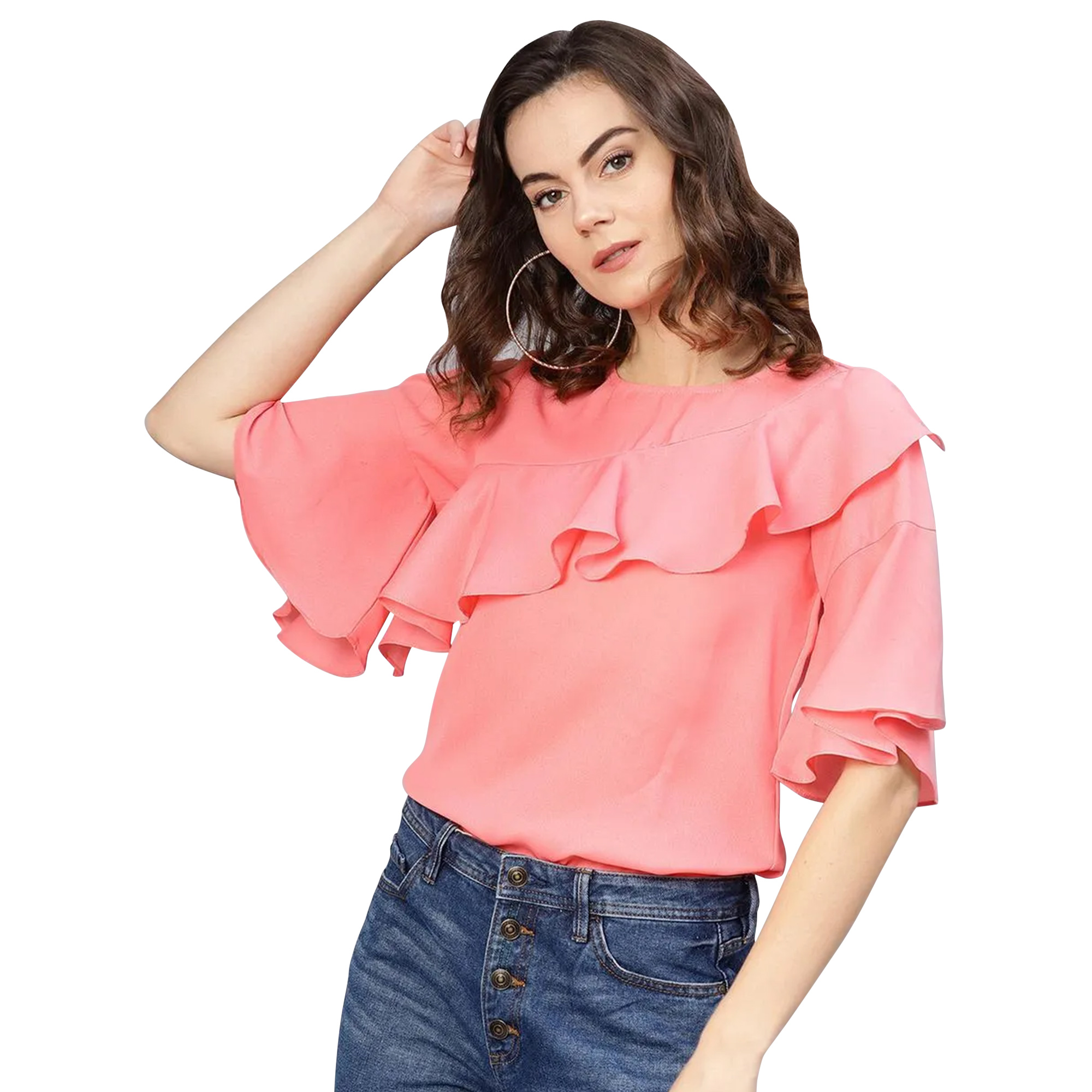 Beautiful Casual Wear Printed Crepe-Polyester Top - Pack of 2
