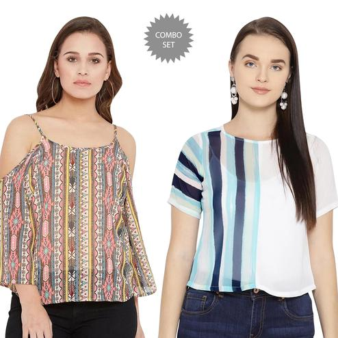 Blooming Casual Wear Printed Crepe-Georgette Top - Pack of 2