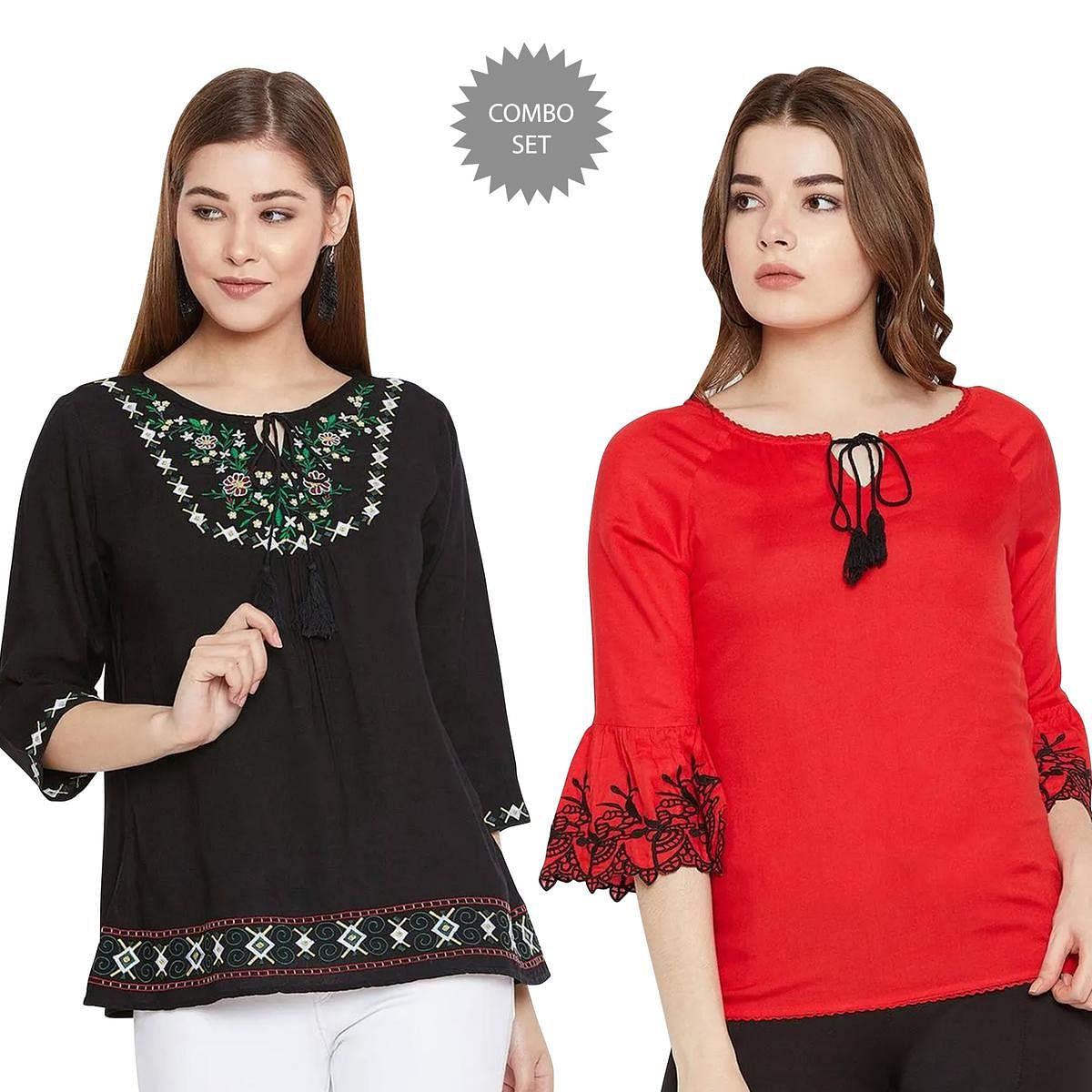 Jazzy Casual Wear Embroidered Rayon Top - Pack of 2