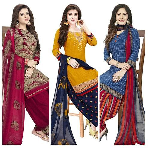 Intricate Casual Wear Printed Crepe Patiala Dress material - Pack of 3