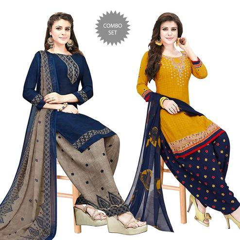Desirable Casual Wear Printed Crepe Patiala Dress material - Pack of 2