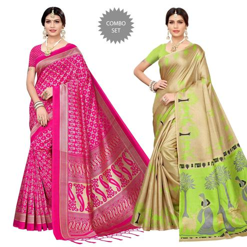 Trendy Printed Arti Silk-Khadi Silk Saree - Pack of 2