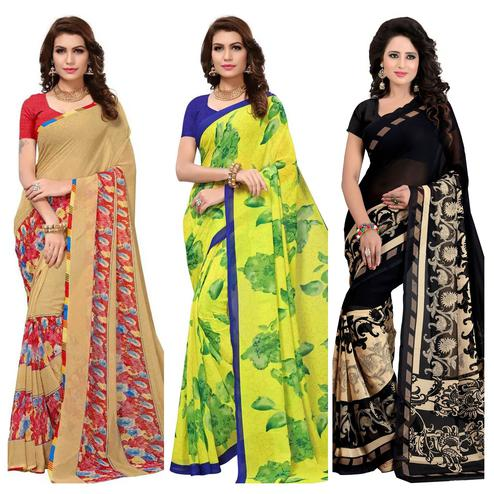 Radiant Casual Wear Printed Georgette Saree - Pack of 3