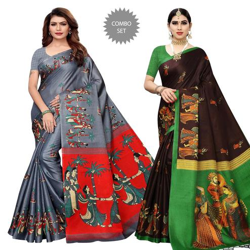 Opulent Printed Khadi Silk-Cotton Silk Saree - Pack of 2