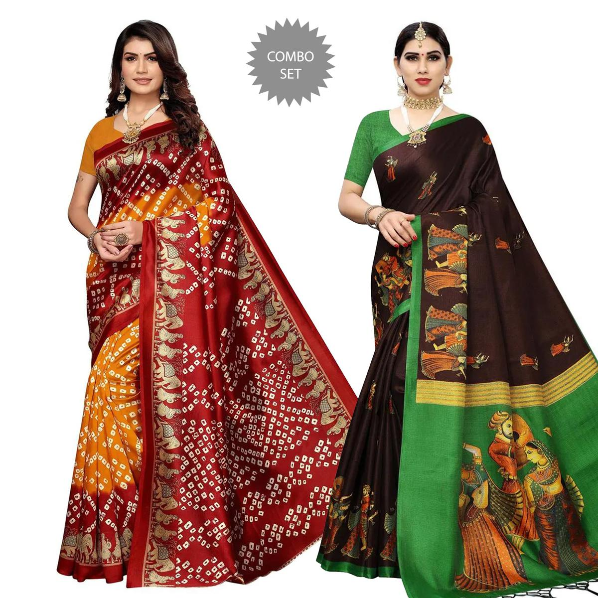 Energetic Casual Wear Printed Art Silk-Cotton Silk Saree - Pack of 2