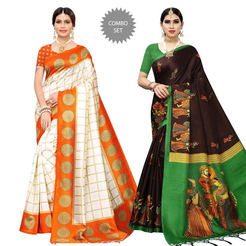 Glowing Printed Mysore Silk-Cotton Silk Saree - Paco of 2