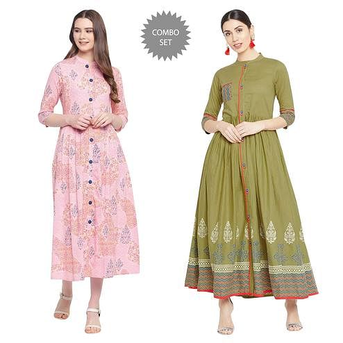 Exceptional Printed Cotton Kurti - Pack of 2