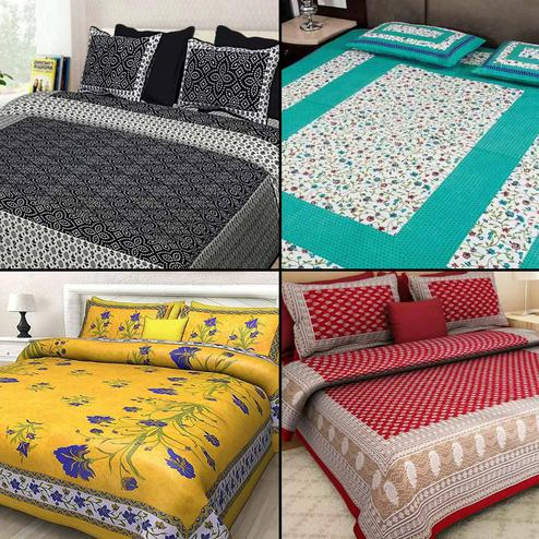 Mesmeric Printed Cotton Double Bedsheet With 2 Pillow Cover - Pack of 4