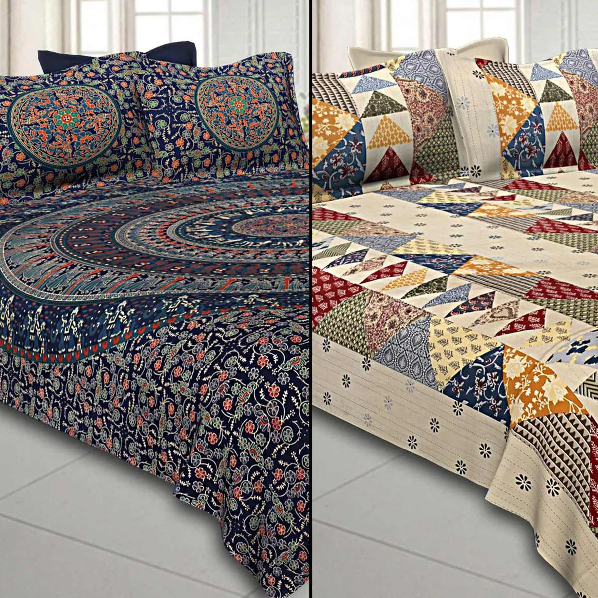 Unique Printed Pure Cotton Double Bedsheet With Pillow Cover Set - Pack of 2