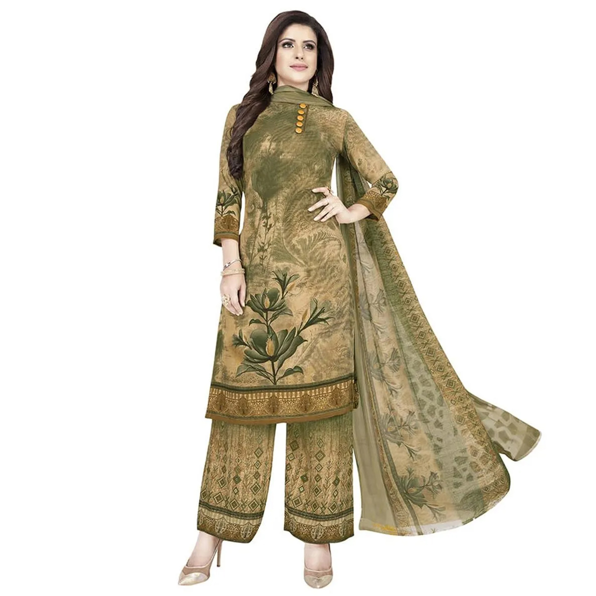 Arresting Casual Wear Printed Crepe Patiala Dress material - Pack of 2